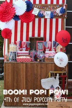 Boom! Pop! Pow! Host a 4th of July Patriotic Popcorn Party for friends and neighbors to enjoy a poptastic treat during the fireworks show! #4thofjuly #parties #patriotic #fourthofjuly #partyideas #holidayparty #gigglesgalore #gigglesgalorecreates #fun365