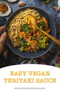Delicious & easy vegan teriyaki sauce in just a few simple steps! Vegan Keto Recipes, Vegan Dinner Recipes, Delicious Vegan Recipes, Vegan Dinners, Lunches And Dinners, Easy Healthy Recipes, Real Food Recipes, Vegan Sauces, Vegetarian Meals