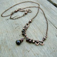 Antiqued Copper Wire Wrapped Necklace with by BearRunOriginals, $27.00