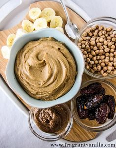 Salted Caramel Dessert Hummus from Fragrant Vanilla Cake Chickpeas are a staple in my kitchen. Every week I cook off a huge batch Dessert Hummus Recipe, Dessert Dips, Köstliche Desserts, Sweet Hummus Recipe, Plated Desserts, Healthy Vegan Snacks, Vegan Sweets, Healthy Desserts, Healthy Hummus