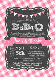 BBQ Baby Shower invitation baby q invitation with chalkboard