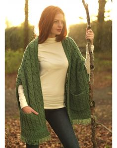 Aran Shawl Wrap with Pockets