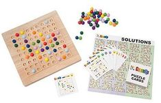 A  colorful spin on Japanese logic puzzles, this wooden board uses wooden  marbles in nine great colors instead of numbers to solve each game.  Strategy is the name of the game. Don't lose your marbles  trying to crack different combinations-there's only one correct solution  to each puzzle! family night, family  fun, board game, board games,   #giftideas #ad #familynight