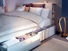 Under-bed storage that helps keeps your bedroom organized and beautiful.   from IKEA
