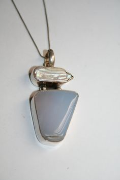 Sterling  Silver  Ellensburg Blue Agate and Mother of by Vrendon