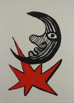 Artwork by Alexander Calder, Lune et étoile rouge (Moon and Red Star), Made of Lithograph in colors, on Arches paper, with full margins. Alexander Calder, Stuart Davis, Arches Paper, Kinetic Art, Museum Of Modern Art, Abstract Expressionism, Painting Inspiration, American Art, Contemporary Art