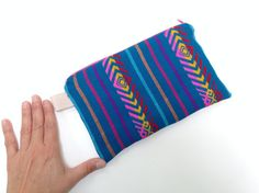 Mexican Pencil Case with Zipper - Make up Pouch - Teal Fabric Purse - Blue Aztec Bag - Cosmetic Bag