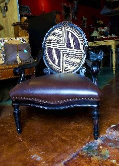 Double D Ranch Hand Beaded Leather Arm Chair