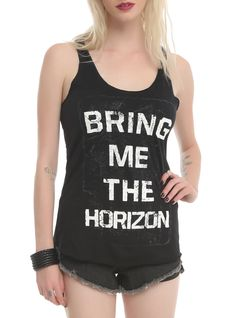 Black racer back tank top with a distressed Bring Me The Horizon logo.