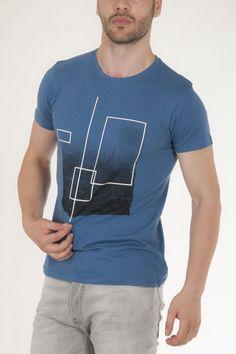 Μπλουζάκι μπλε του ουρανού με στάμπα μπροστά αντρικό sorbino