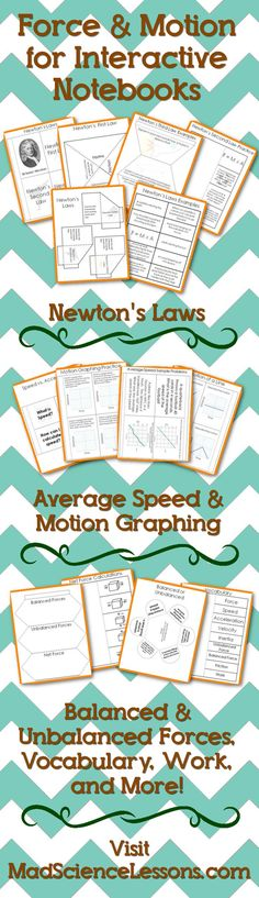 Force and Motion Interactive Notebook (INB) Templates - Newton's Laws Work Average Speed Motion Graphing Balanced and Unbalanced Forces Net Force Mass vs Weight Third Grade Science, Science Student, Middle School Science, Physical Science, Science Classroom, Teaching Science, Science Education, Mad Science, Waldorf Education