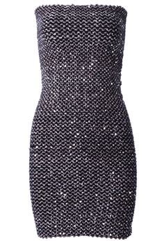 Silver Strapless Sequined Body Conscious Dress US$24.26