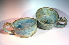 Soup Bowl with Handle Handmade Pottery by LaurenBauschOriginal, $18.00