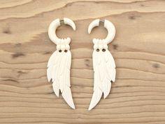 Carved Bone Earrings - Feathers