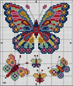 Psychedelic Butterflies Butterfly Stitches, Butterfly Cross Stitch, Cross Stitch Bird, Cross Stitch Animals, Cross Stitch Borders, Cross Stitching, Cross Stitch Embroidery, Crochet Square Blanket, Free Cross Stitch Charts