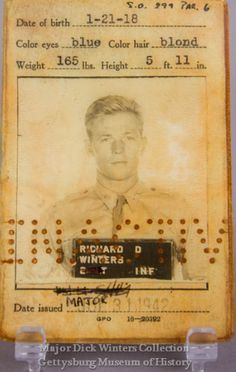 Major Dick Winters Officer's I.D. Card, on display at the Gettysburg Museum of History.