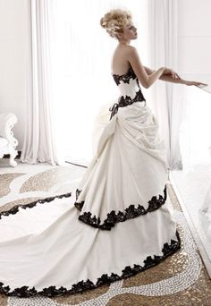 Black And White Wedding Dress #goth wedding ... Wedding ideas for brides & bridesmaids, grooms & groomsmen, parents & planners ... https://itunes.apple.com/us/app/the-gold-wedding-planner/id498112599?ls=1=8 … plus how to organise an entire wedding, without overspending ♥ The Gold Wedding Planner iPhone App ♥