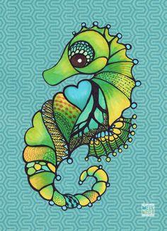 Seahorse art ocean theme wall décor nursery décor by MEEKNEST