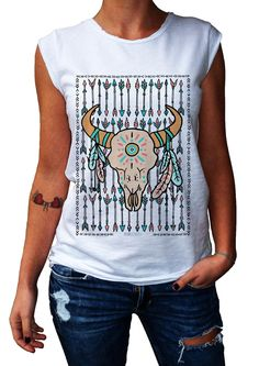 Women's T-Shirt GATE OF ARROW - 100% Made in Italy - 100% Cotton - BOHO COLLECTION http://www.doubleexcess.com/