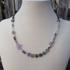 Labradorite Amethyst Moonstone and Swarovski by EastVillageJewelry, $50.00 Sundance style~free shipping within the US! www.eastvillagejewelry.etsy.com