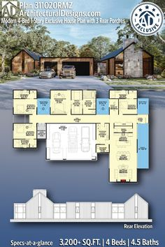 House Plan 311020RMZ gives you 3,200+ square feet of living space with 4 bedrooms and 4.5 baths. AD House Plan #311020RMZ #adhouseplans #architecturaldesigns #houseplans #homeplans #floorplans #homeplan #floorplan #houseplan Sims House Plans, Family House Plans, New House Plans, Dream House Plans, Modern House Plans, My Dream Home, 4 Bedroom House Plans, Sims House Design, House Layouts