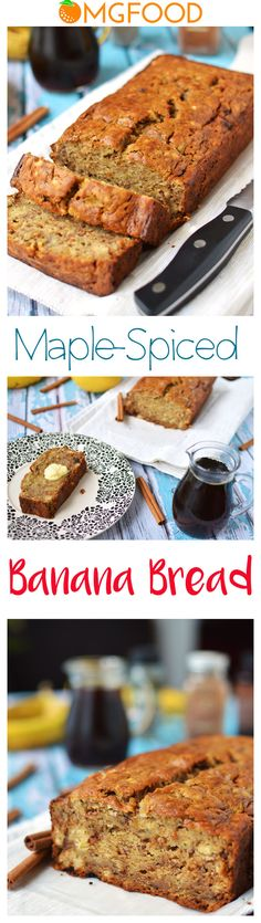 Maple-Spiced Banana Bread - Sweetened with maple syrup and just a little sugar to give it the right amount of sweetness and spiced with cinnamon and cardamom! | omgfood.com