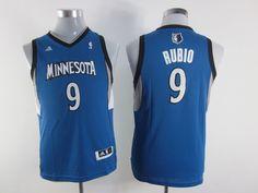 Adidas NBA Kids Minnesota Timberwolves 9 Ricky Rubio New Revolution 30 Swingman Youth Blue Jersey