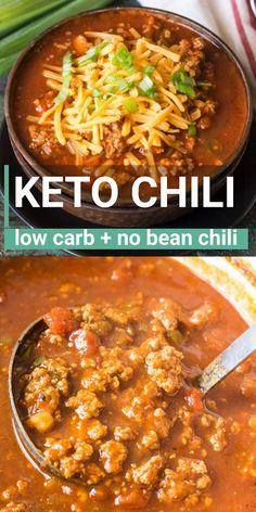 This hearty keto chili features tons of meat, peppers, spices and tomatoes! This hearty keto chili features tons of meat, peppers, spices and tomatoes! At just net carbs p Keto Chili Recipe, Chili Recipes, Soup Recipes, Chicken Recipes, Dinner Recipes, Chilli Recipe No Beans, Potato Recipes, Casserole Recipes, Pasta Recipes