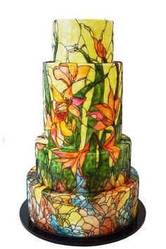 Signature Stained Glass Wedding Cakes from Queen of Hearts Couture Cakes - Mon Cheri Bridals Creative Wedding Cakes, Amazing Wedding Cakes, White Wedding Cakes, Wedding Cake Designs, Amazing Cakes, Buttercream Decorating, Cake Decorating, Buttercream Flower Cake, Hand Painted Cakes