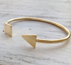 Open Bangles, Gold Bracelet, Open Bangle Bracelet, Stacking Bangle, Triangle bracelet, Adjustable Bracelet - 21021 by Avnis on Etsy https://www.etsy.com/listing/225711437/open-bangles-gold-bracelet-open-bangle