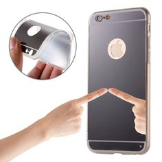 [$1.39] Electroplating Mirror TPU Protective Case for iPhone 6 & 6s(Black)