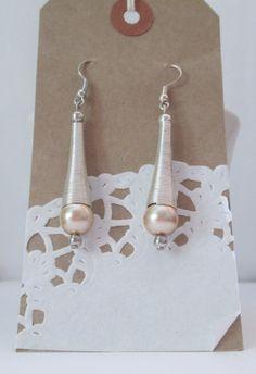 Cream Pearl Dangle Earrings Silver Conical by AwfyBrawJewellery