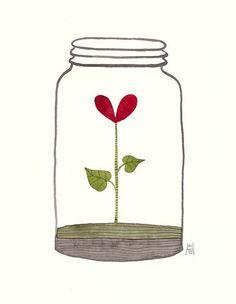 Jar of Love 25 - watercolor painting Jar Of Hearts, Doodles, Heart Art, Easy Drawings, Doodle Art, Cute Wallpapers, Cute Art, Watercolor Paintings, Illustration Art