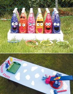Hooplah ring toss game made from plastic bottles filled with tissue paper.