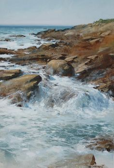 """Sarah Pinyan posted Cindy Baron """"Water Ballet"""" Watercolor x to her -nice signs- postboard via the Juxtapost bookmarklet. Watercolor Landscape, Watercolour Painting, Watercolors, Painting Abstract, Abstract Landscape, Seascape Paintings, Landscape Paintings, Water Art, Ocean Art"""
