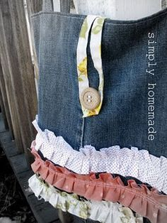 old jeans ruffle tote tutorial