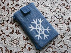 Winter phone case / snow case / fun safe case / jeans fabric phone case with zipper pocket / snowflake / winter / multifunctional/ positive