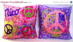 CHRISTMAS in JULY SALE 16 x 16 Peace Sign Pillows - Personalized Accent Throw Pillows, Custom Made to Match any Decor, You Choose the Color. $64.00, via Etsy.