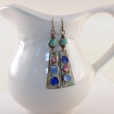 Earrings Aqua Blues and Pink Pastel Pools of by CinLynnBoutique
