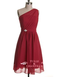 Fall Wedding Ideas - Short One Shoulder  Wine Bridesmaid Dress. Kelly I think this would look good on you.