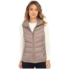 MICHAEL Michael Kors Stand Collar Packable Vest Women's Vest featuring polyvore, fashion, clothing, outerwear, vests, pocket vest, zipper vest, brown vest, brown puffer vest and brown waistcoat