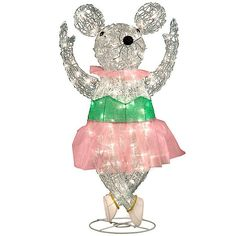 Improvements Pre-Lit Ballerina Mouse Christmas Decor (€36) ❤ liked on Polyvore featuring home, home decor, holiday decorations, christmas, christmas decor, decor, filler, christmas mouse, holiday decor and nutcracker