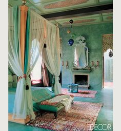 Moroccan style bedroom. I love the color