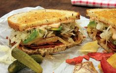 This whole page has great looking recipes. -SN   Mayim Bialik's Vegan Reuben Sandwich | One Green Planet