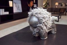 Handmade cute animal leather stuffed  lion home decoration