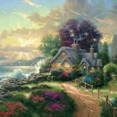 (usa) A New Day Dawning by Thomas Kinkade (1958- 2012). born in California.