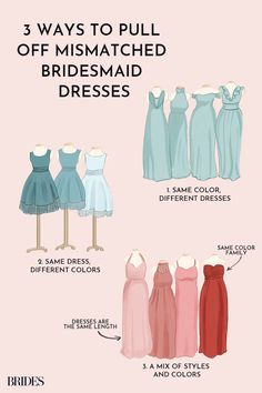 Mismatched Bridesmaid Dresses: 10 Tips to Pull It Off Beautifully Brides are mixing it up with mismatched bridesmaid dresses, creating truly unique ensembles. Get 10 expert tips to using different bridesmaid dresses! Pink Bridesmaid Dresses Short, Bridesmaid Gowns, Bridesmaid Tips, Bridesmaid Proposal, Wedding Bridesmaids, Chiffon, Marie, Lehenga, Modern