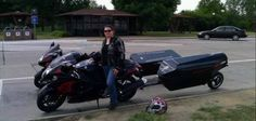 Moto-lady with sport bike motorcycle trailer