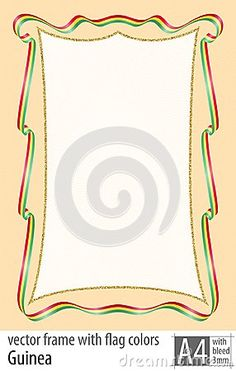 Frame and border of ribbon with the colors of the Guinea flag, with protective grid. Vector, with bleed three mm