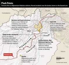 Tensions flare in Afghanistan-Pakistan relations. Map of recent incidents near the border, at the Durand Line: